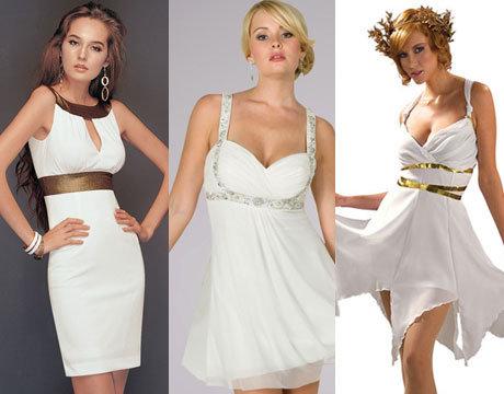 Греческие платья на выпускной короткие