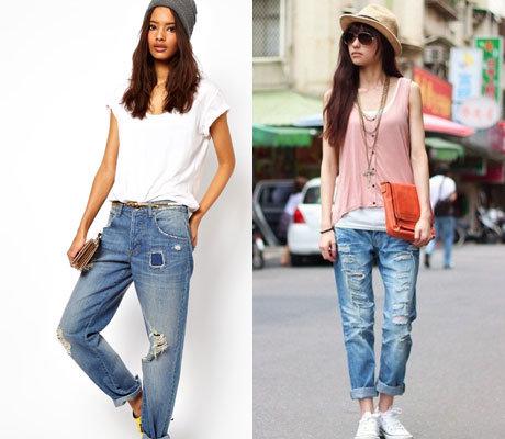 Под что надеть рваные джинсы