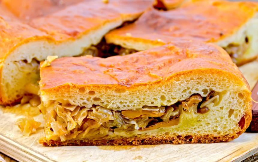 пирог с лисичками и капустой