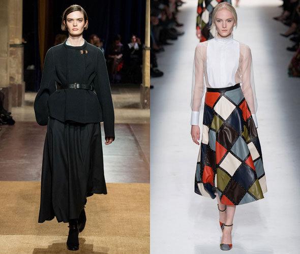 Образы с юбками миди осень