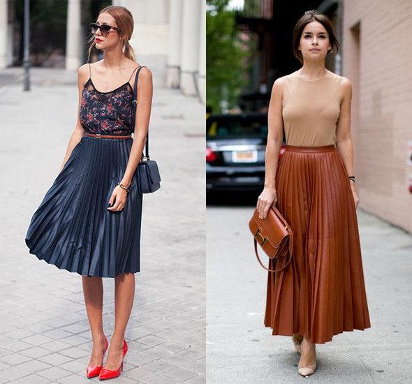 Как носить короткую плиссированную юбку